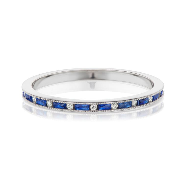 sapphire and diamond band white gold