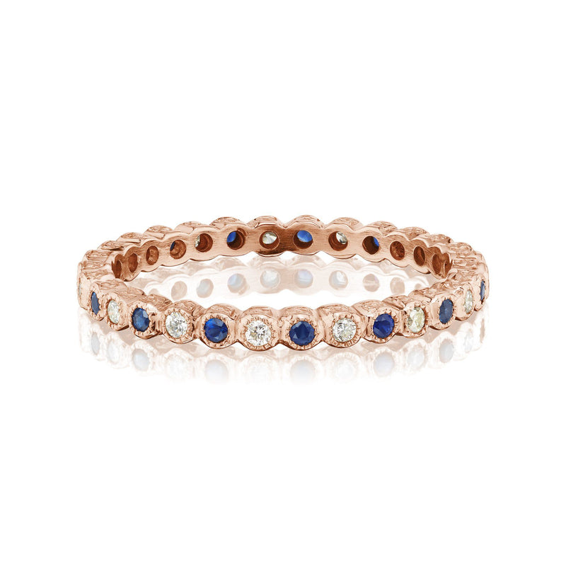Sapphire and Diamond Vintage Band Rose Gold