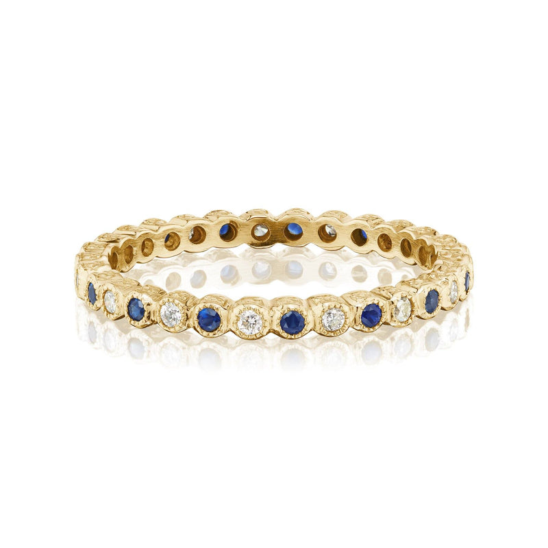 Sapphire and Diamond Vintage Band Yellow Gold