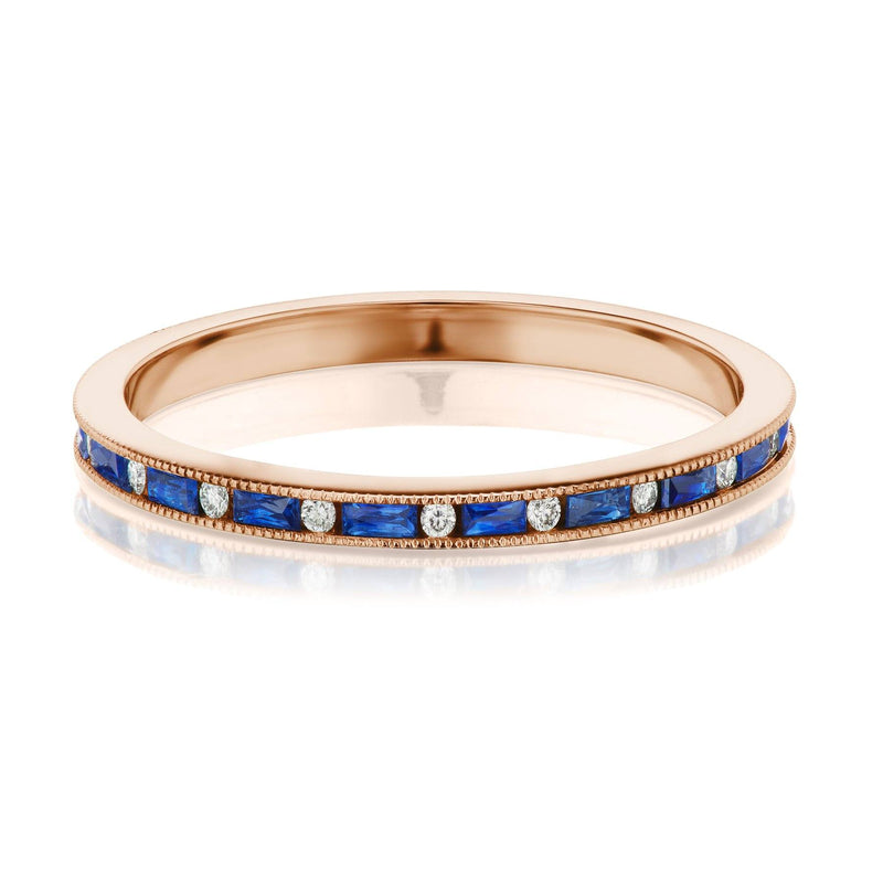sapphire and diamond band rose gold