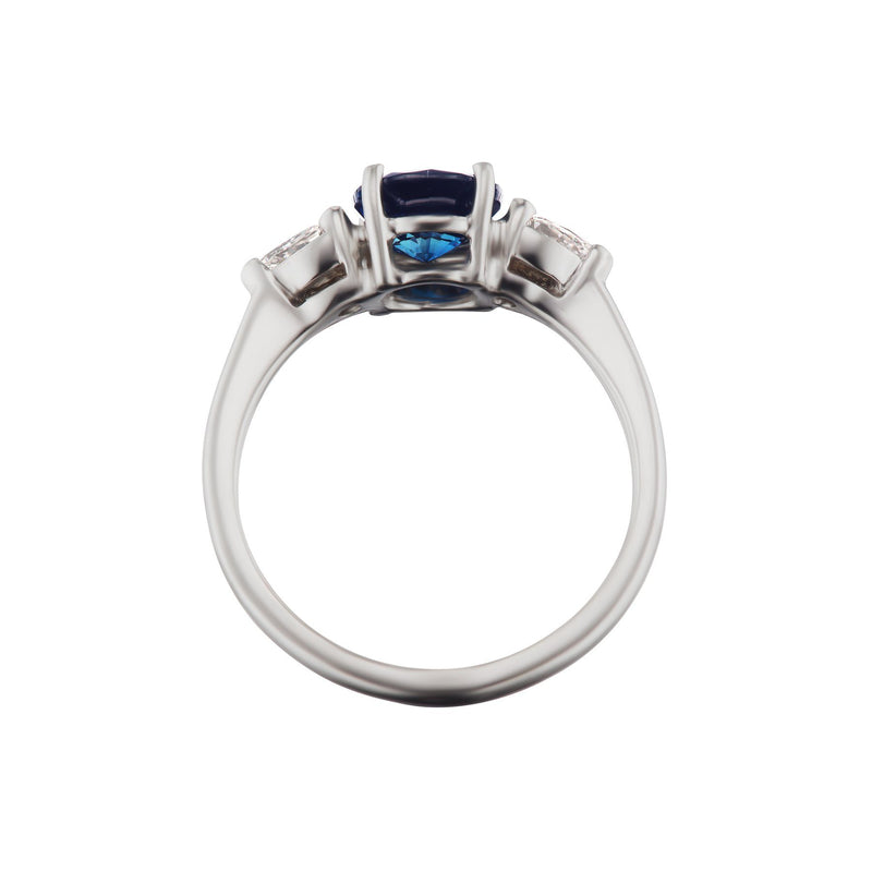 Sapphire Engagement Ring with Pear Shape Diamonds