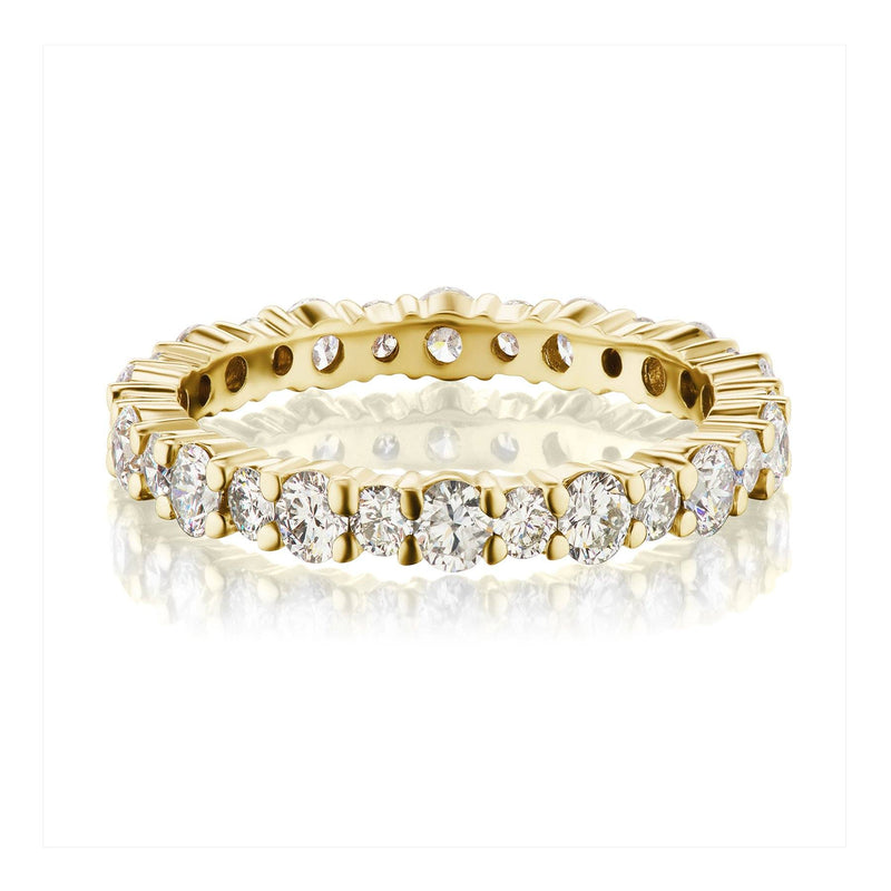 Shared Prong Diamond Eternity Band Yellow Gold