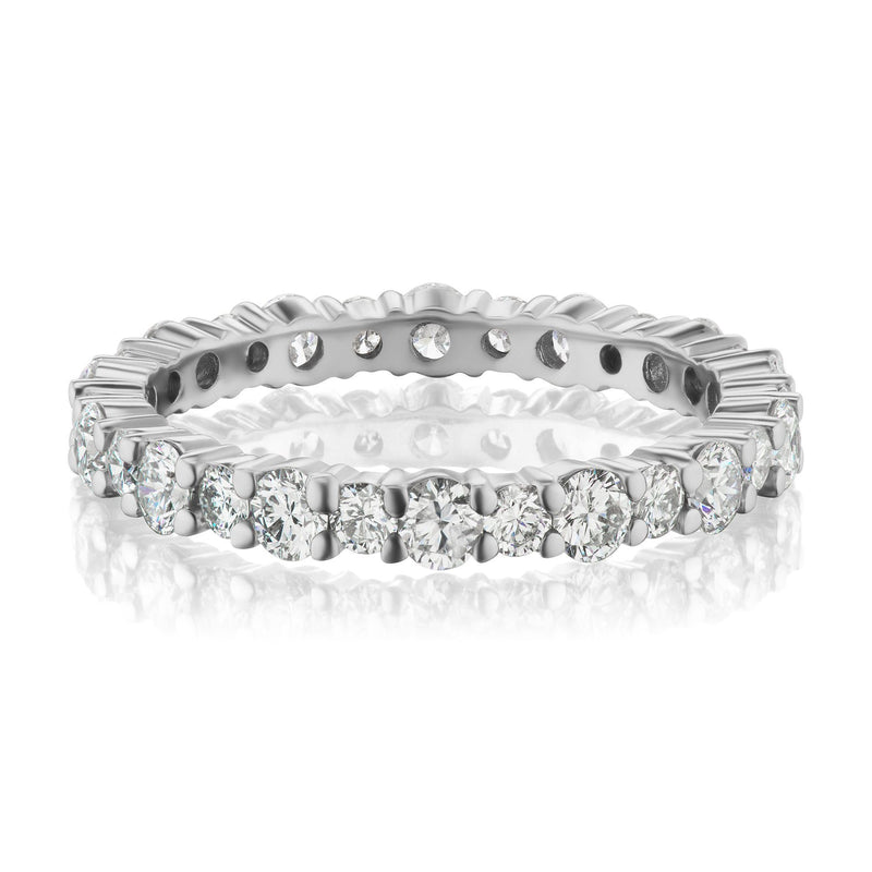 shared prong diamond wedding band white gold