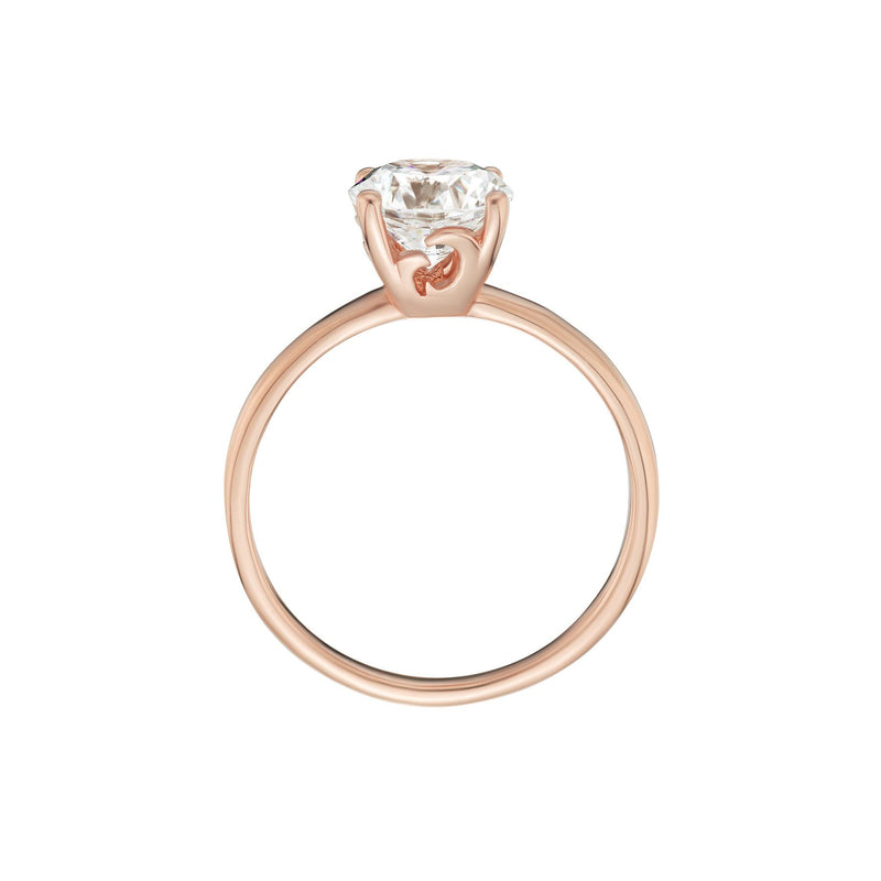 Solitaire Diamond Ring Rose Gold Side View