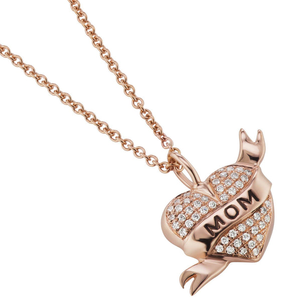 Mom Diamond Tattoo Heart Pendant