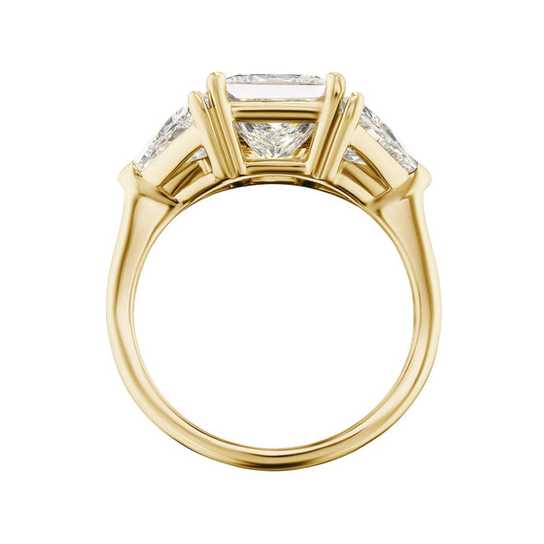 Princess Cut Diamond three stone engagement ring side view
