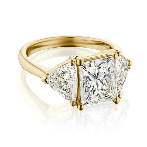 Three Stone Princess Cut Engagement Ring Yellow Gold