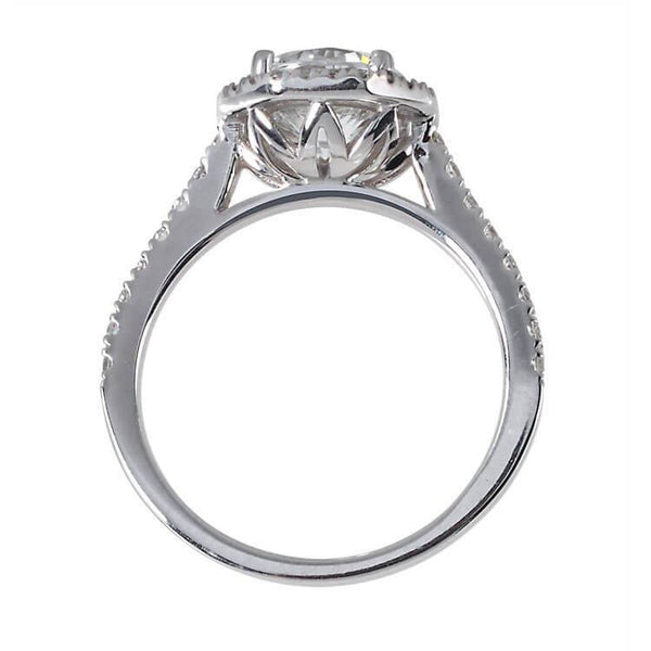 unique halo engagement ring side view