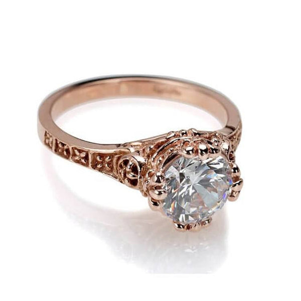 Gothic rose gold engagement ring