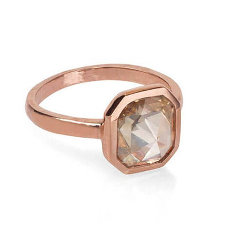 Unique rose cut diamond engagement ring set in rose gold