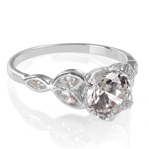 classic in with ring wedding textured rings texture marquise engagement platinum cut diamond leaf prong design white