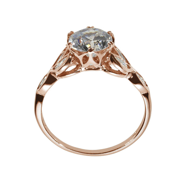 Rose Gold engagement ring with marquise diamonds  side view