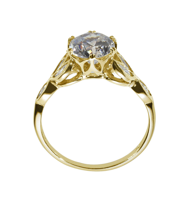 Engagement Ring with Marquise Side Diamonds side view