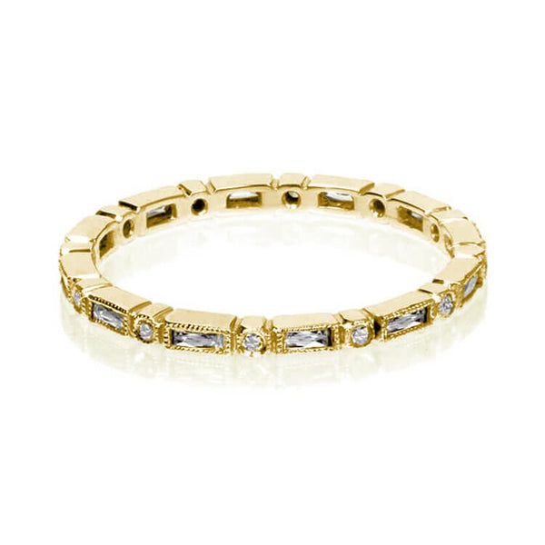 Vintage Inspired Baguette Band Yellow Gold