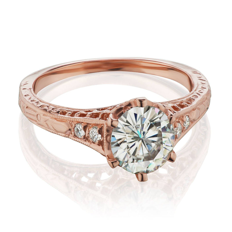 Vintage inspired engagement ring rose gold