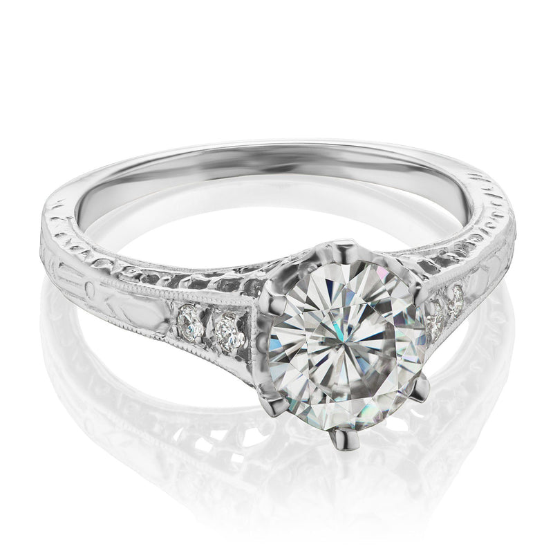 Vintage Moissanite Ring in White Gold
