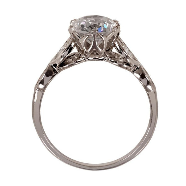 Vintage engagement ring with leaf design, side view