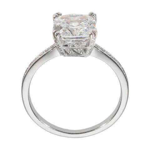 Vintage cushion engagement ring with delicate detail on sides
