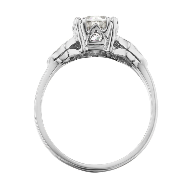 White Gold Art Deco Engagement Ring Side View