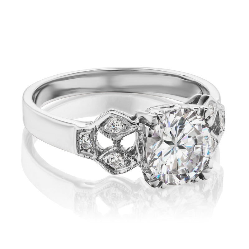 White Gold Art Deco Engagement Ring