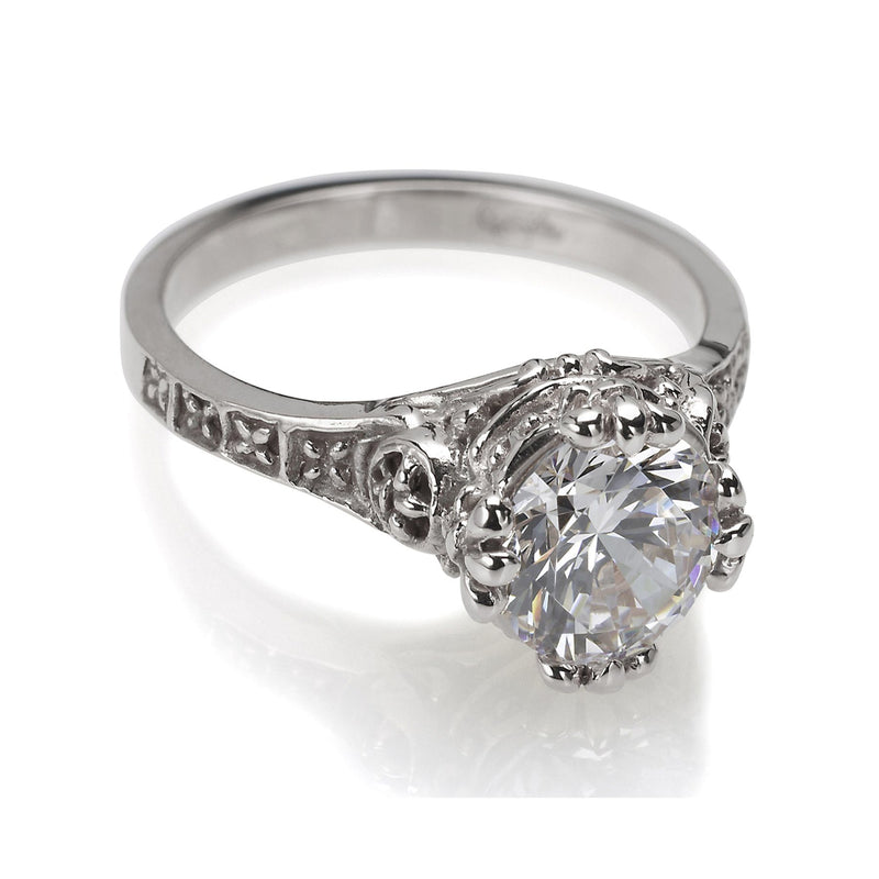 Gothic engagement ring white gold