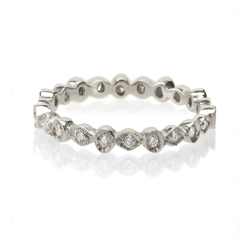 vintage style diamond band white gold