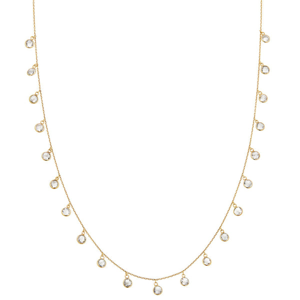 yellow gold white topaz chain