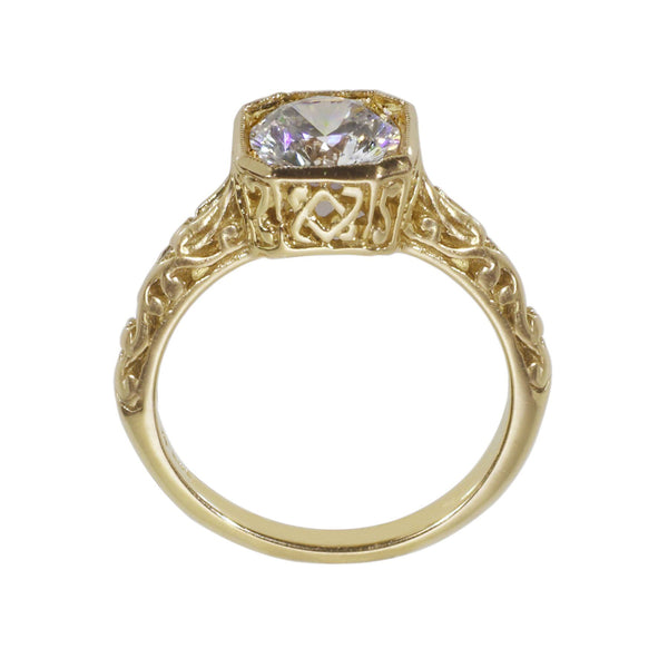 Vintage reproduction engagement ring side view