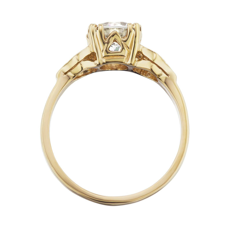 Yellow Gold Art Deco Engagement Ring Side View