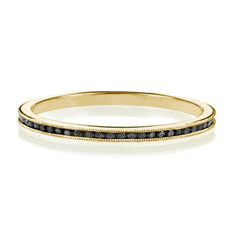 Delicate Black Diamond Eternity Band Yellow Gold
