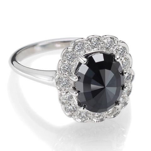 Black diamond cocktail ring