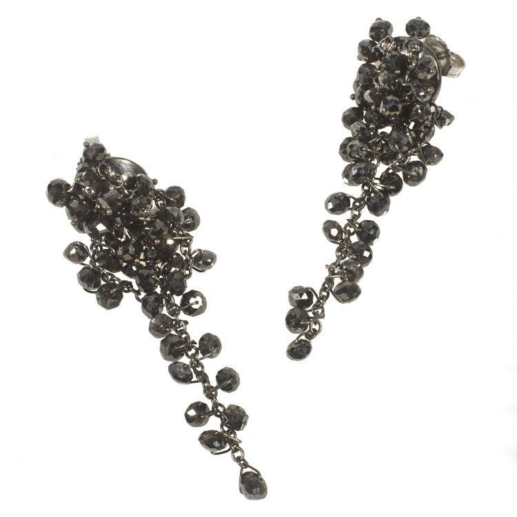 Black bead diamond earrings