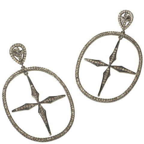 Edgy diamond cross earrings