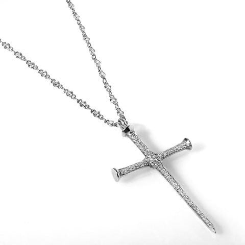 Edgy diamond cross necklace