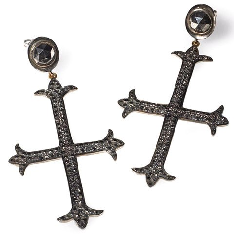 Edgy black diamond cross earrings