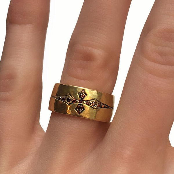 Hammered Cross Wedding Ring
