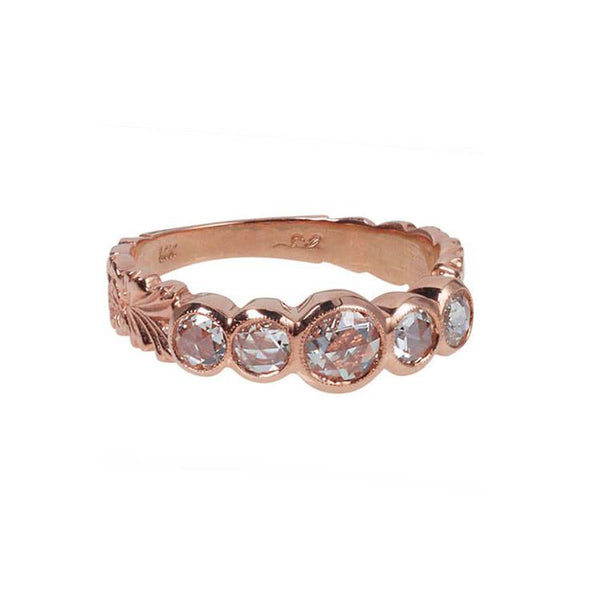 Rose cut diamond rose gold ring