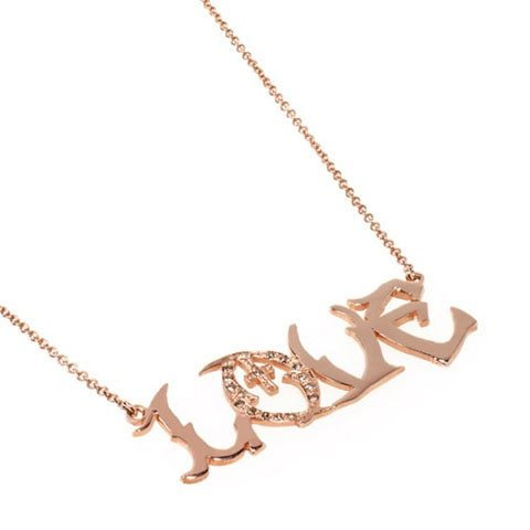 Rose gold love necklace, custom nameplates
