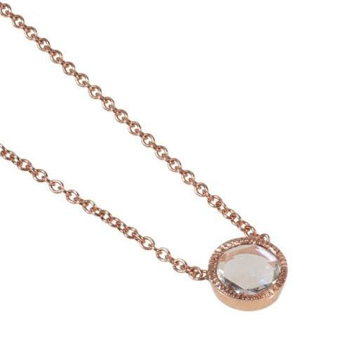 Rose gold diamond solitaire necklace