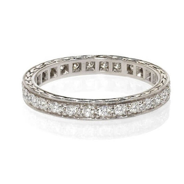 Antique style diamond wedding band with pave diamonds