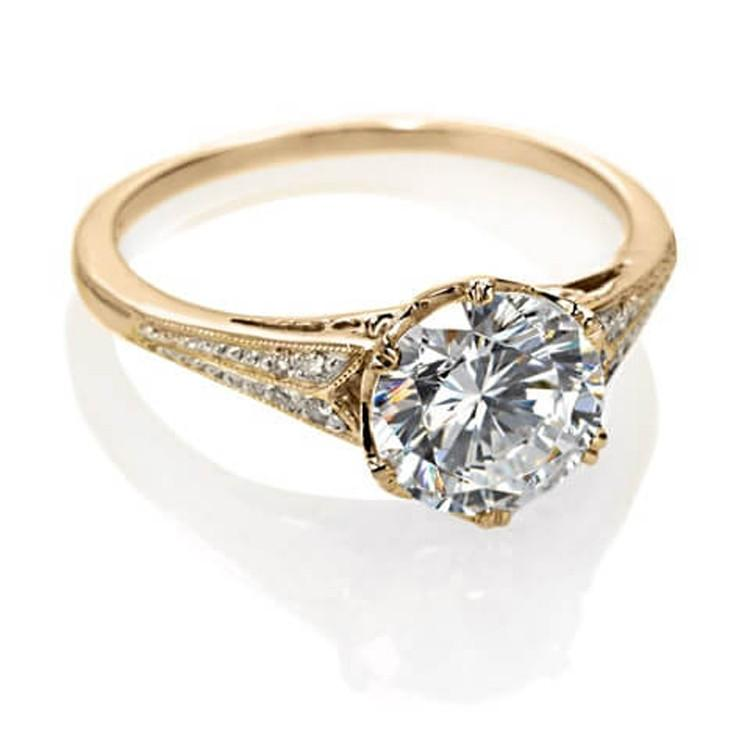 Yellow Gold Vintage Engagement Ring Antique Inspired Design Catherine Angiel