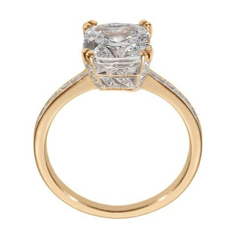 Yellow Gold Cushion Cut Engagement Ring Side View