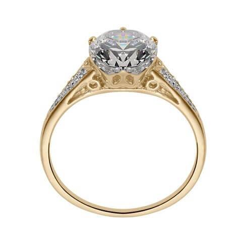 Yellow gold vintage engagement ring side view