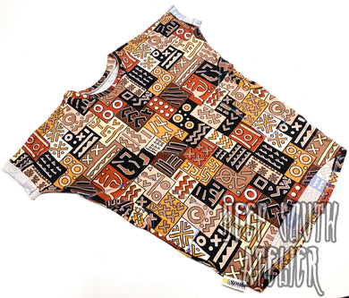 African Abstract Dolman Dress (Netural)