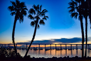 Sunrise Behind the San Diego Bay Bridge