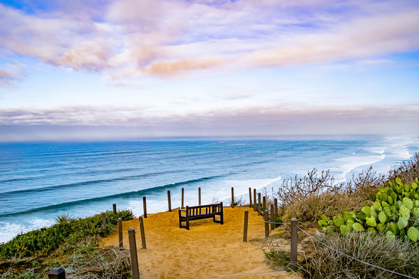 A Bench on the Overlook of the Pacific Ocean