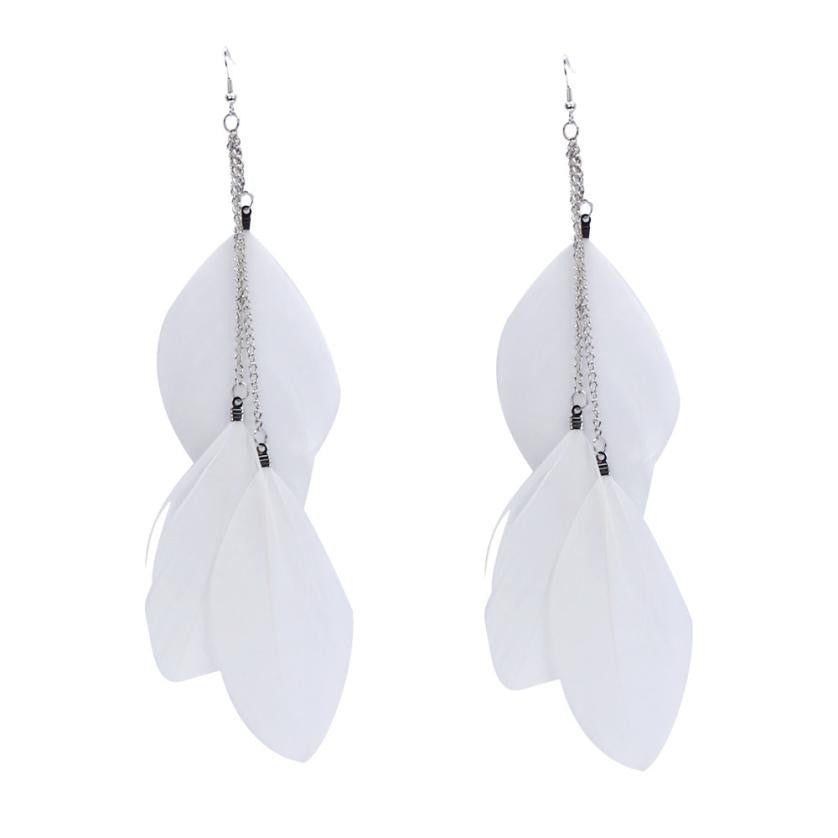 Bohemian Vintage Feather Long Drop Earrings - Jewellica.com