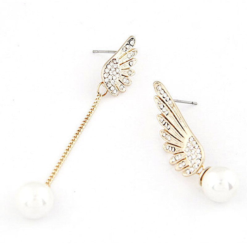 Angel Wings Pearl Dangle Earrings - Jewellica.com