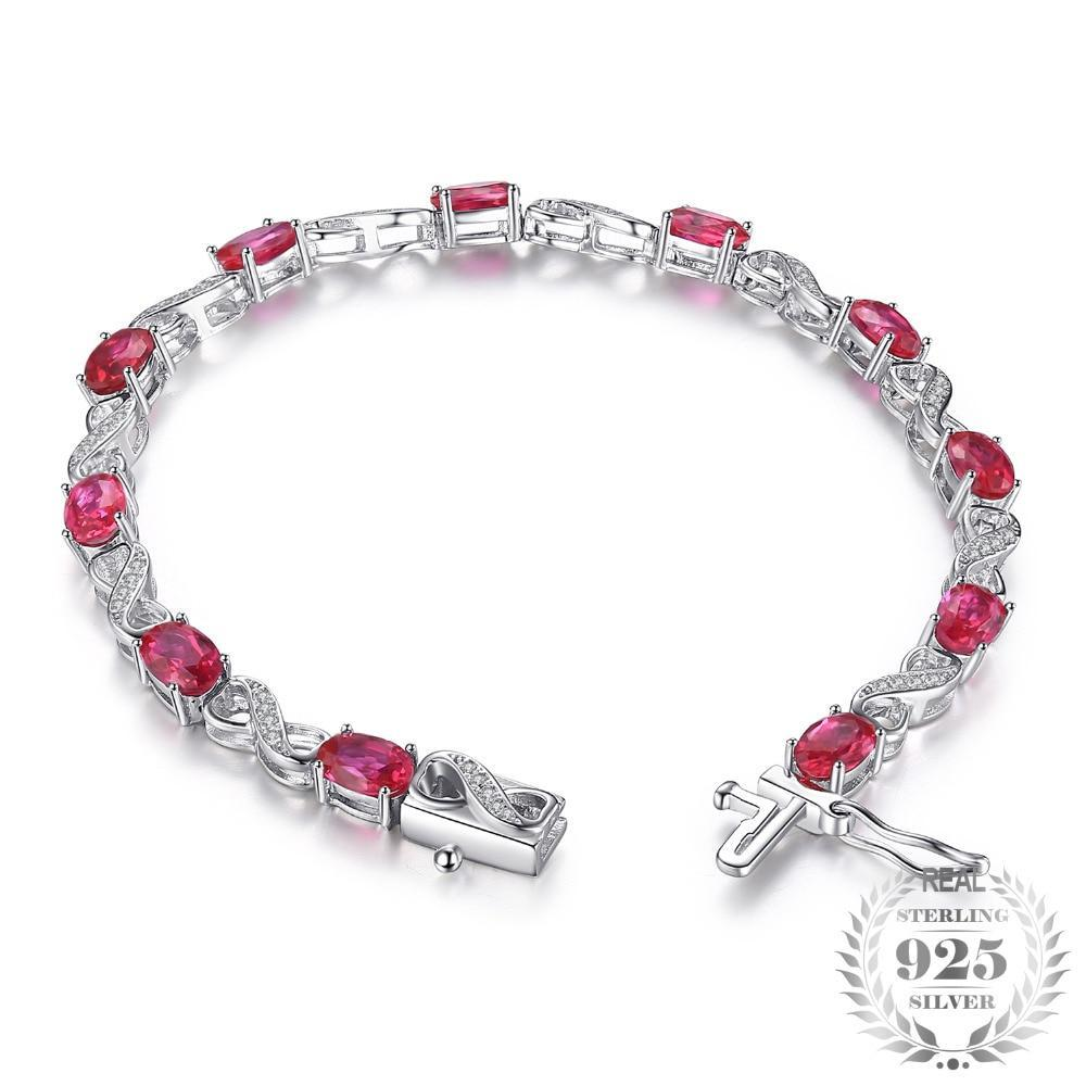Love Infinity Oval Created Ruby Tennis Bracelet - Jewellica.com
