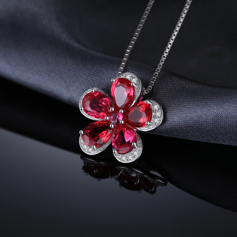 Red Flower Created Ruby Pendant - Jewellica.com